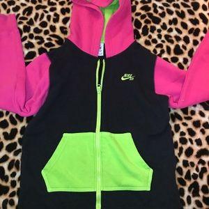 Girls Nike neon pink green full zip jacket medium